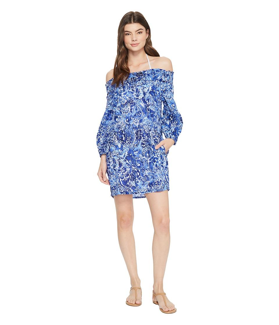 LAUREN Ralph Lauren Playa Floral Smocked Off the Shoulder Tunic Cover-Up LR8FN39-400
