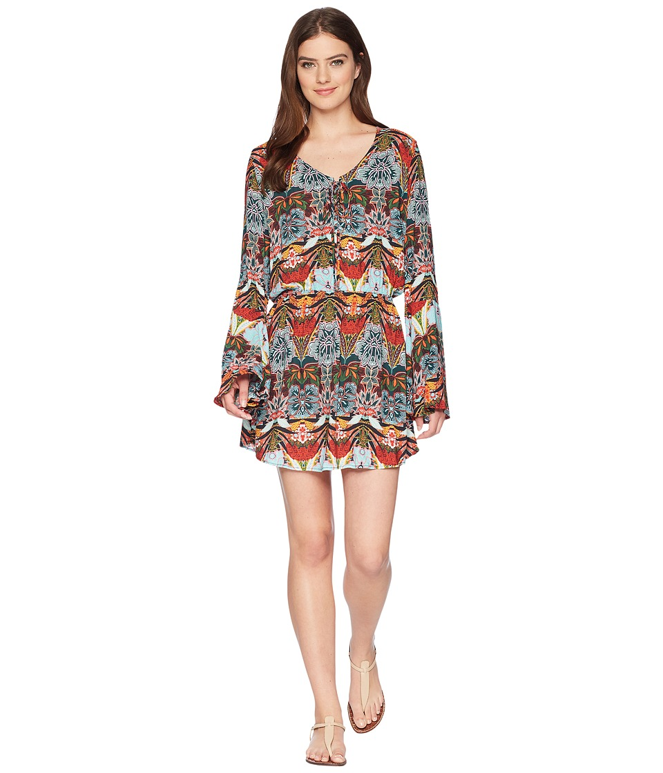 Kenneth Cole Bali Dreams Bell Sleeve Lace-Up Tunic Cover-Up KC8EJ53-960