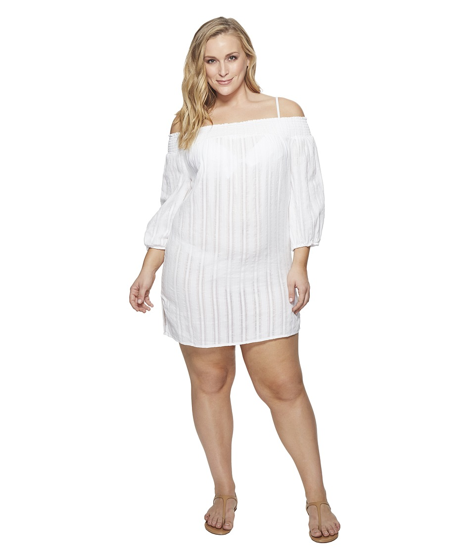 LAUREN Ralph Lauren Plus Size Dobby Smocked Off the Shoulder Tunic Cover-Up (White) Women