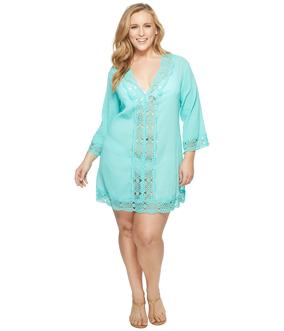 La Blanca Plus Size Island V-Neck Tunic Cover-Up LA8LR55W-335