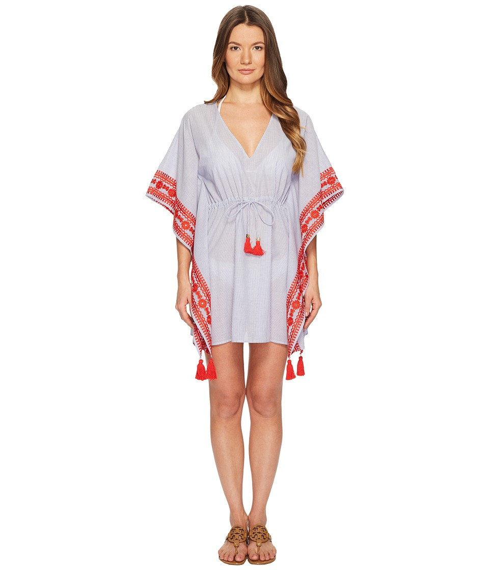 Tory Burch Swimwear Ravena Beach Caftan Top Cover-Up (Blue/White) Women