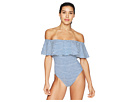 LAUREN Ralph Lauren LAUREN Ralph Lauren Painterly Stripe Ruffle Off the Shoulder One-Piece