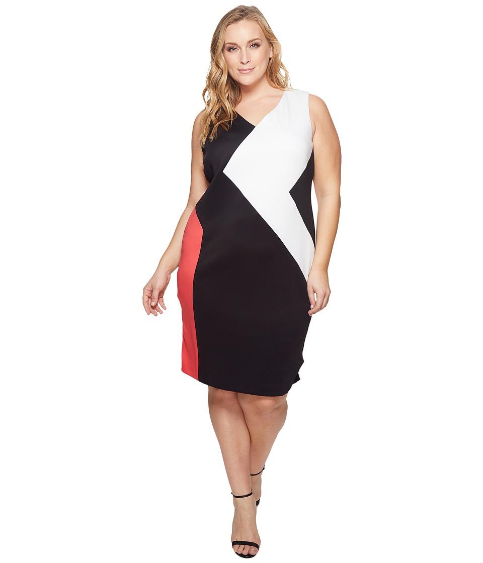 Calvin Klein Plus - Plus Size 3 Color Block Dress (Watermelon/Black) Womens Dress
