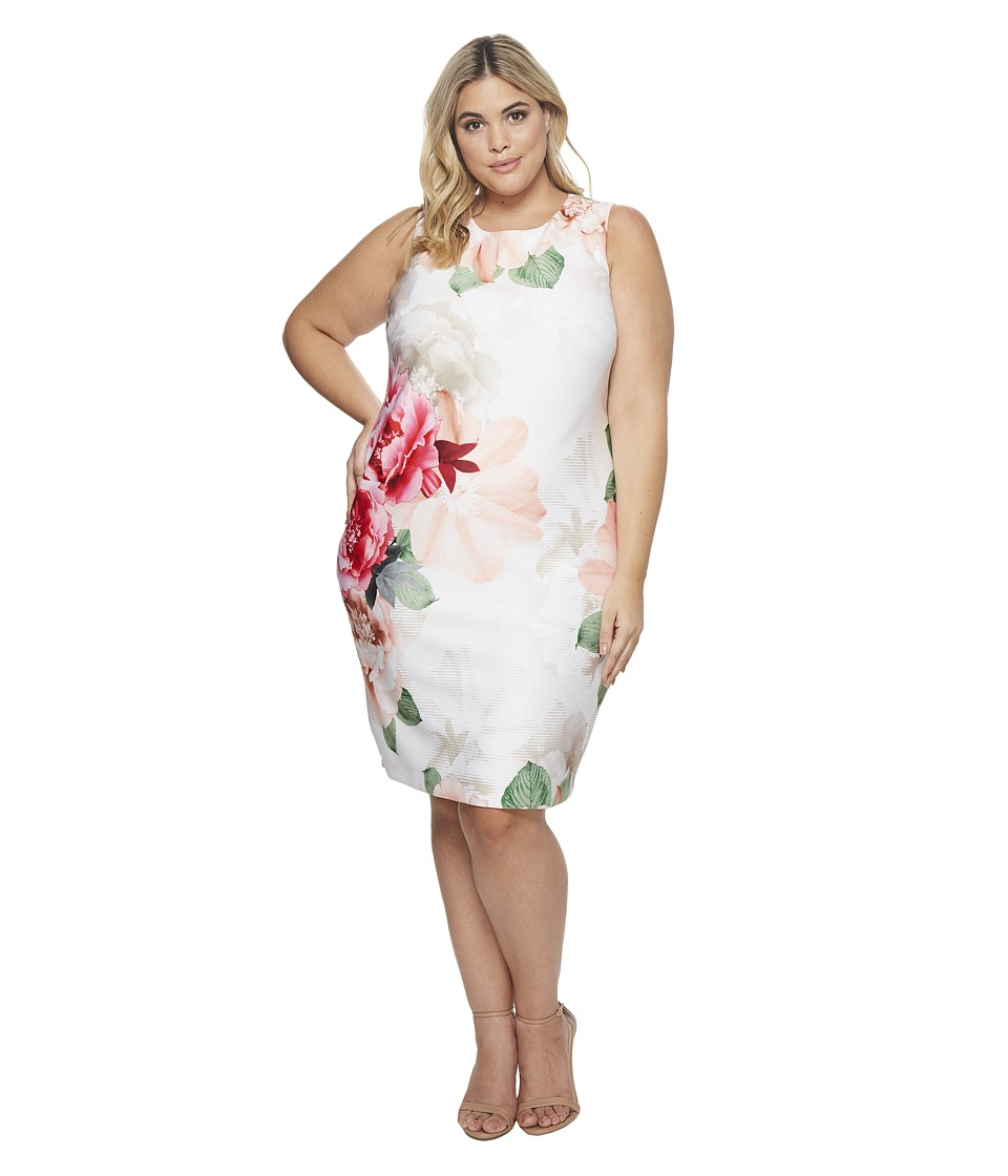 Calvin Klein Plus - Plus Size Printed Scuba Dress (Floral White) Womens Dress