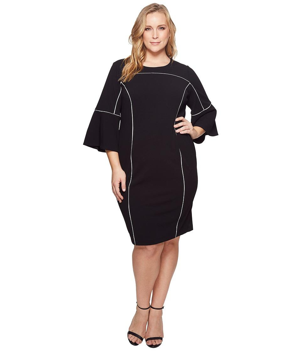 Calvin Klein Plus - Plus Size Bell Sleeve Dress w/ Bind (Black) Womens Dress