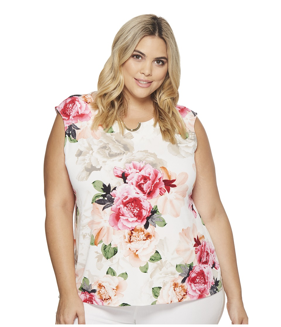 Calvin Klein Plus - Plus Size Printed Sleeveless Top with U Hardware (Nectar Combo) Womens Sleeveless