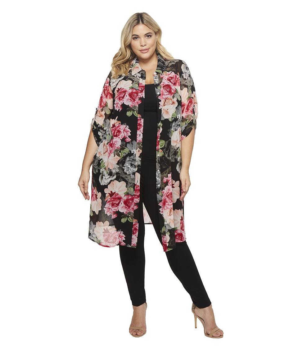 Calvin Klein Plus - Plus Size Roll Sleeve Long Printed Tunic (Black Floral) Womens Clothing
