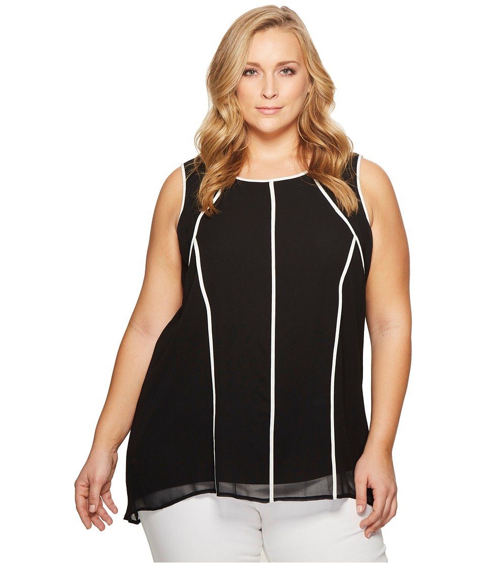 Calvin Klein Plus - Plus Size Short Sleeve Chiffon Tunic with Piping (Black) Womens Clothing