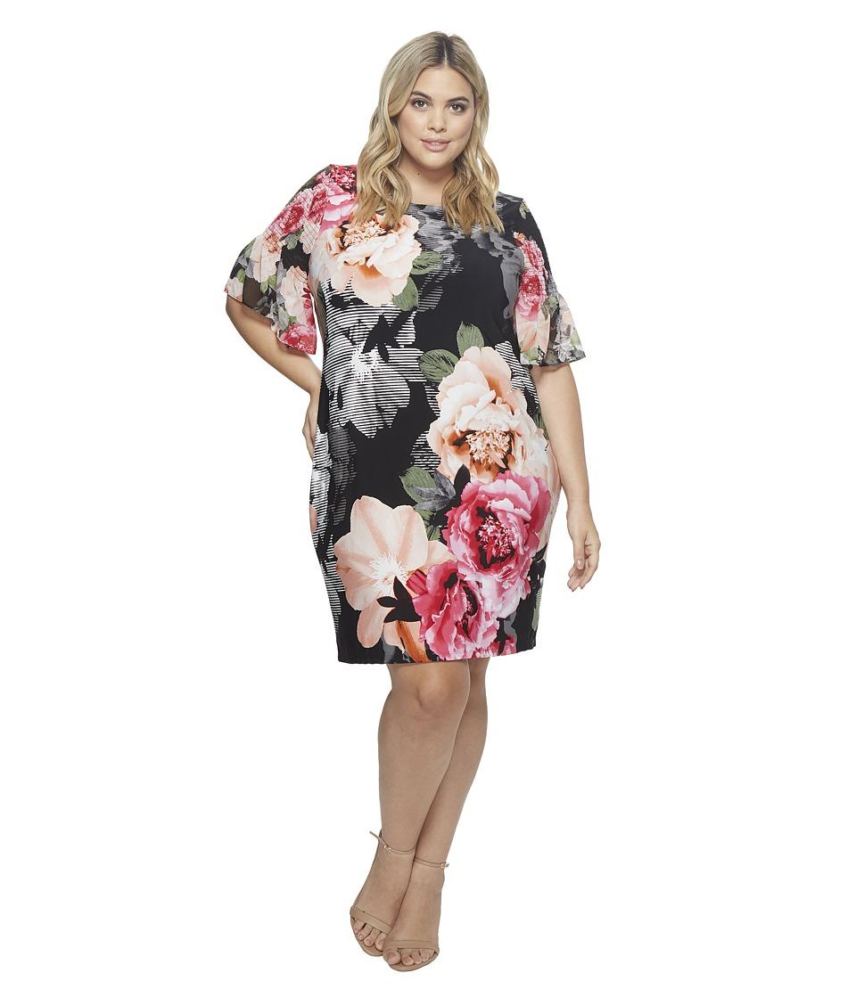 Calvin Klein Plus - Plus Size Printed Gathered Sleeve Dress (Black Flower) Womens Dress