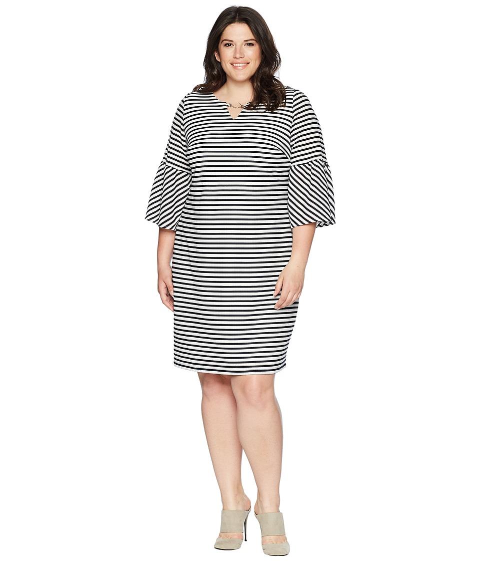 Calvin Klein Plus - Plus Size Bell Sleeve Textured Stripe Dress (Twilight/Soft White Multi) Womens Dress