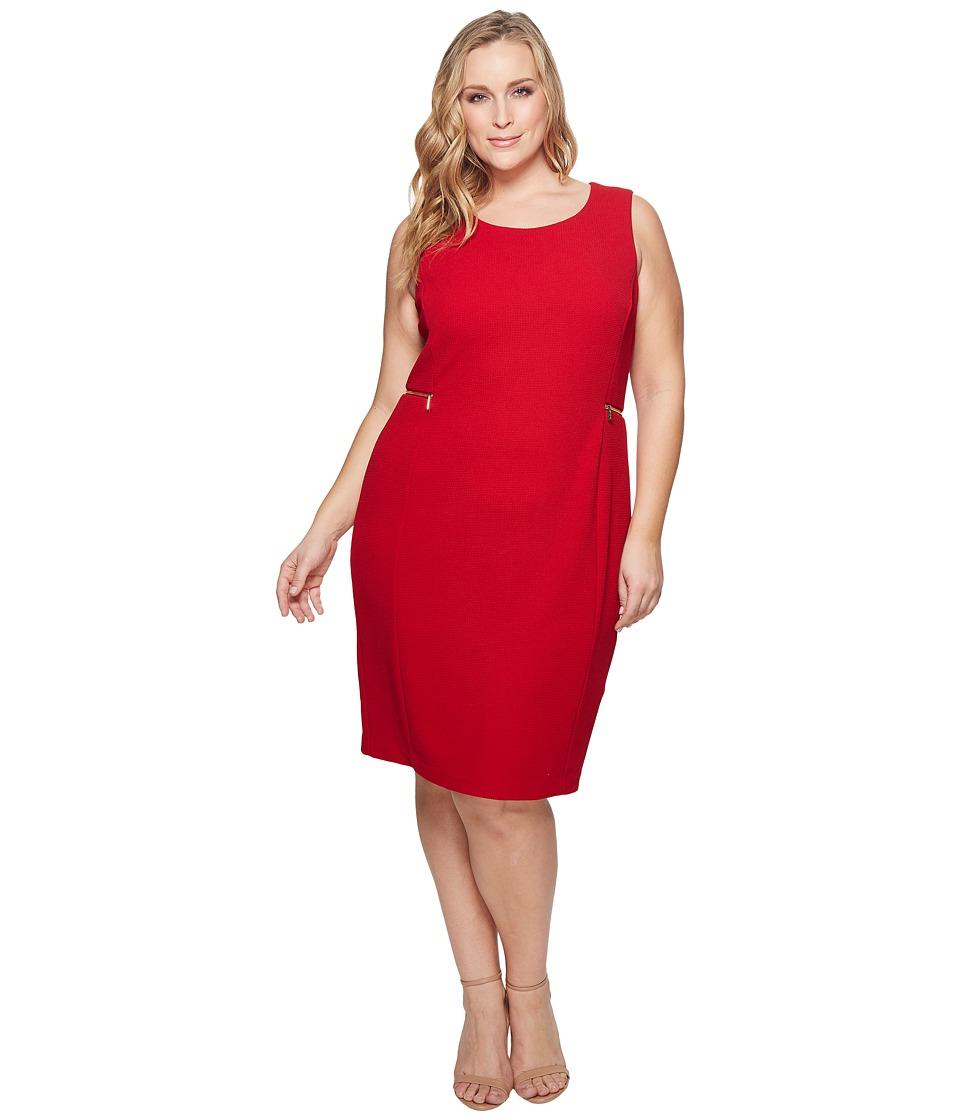 Calvin Klein Plus - Plus Size Dash Jacquard Sheath Dress (Rouge) Womens Dress