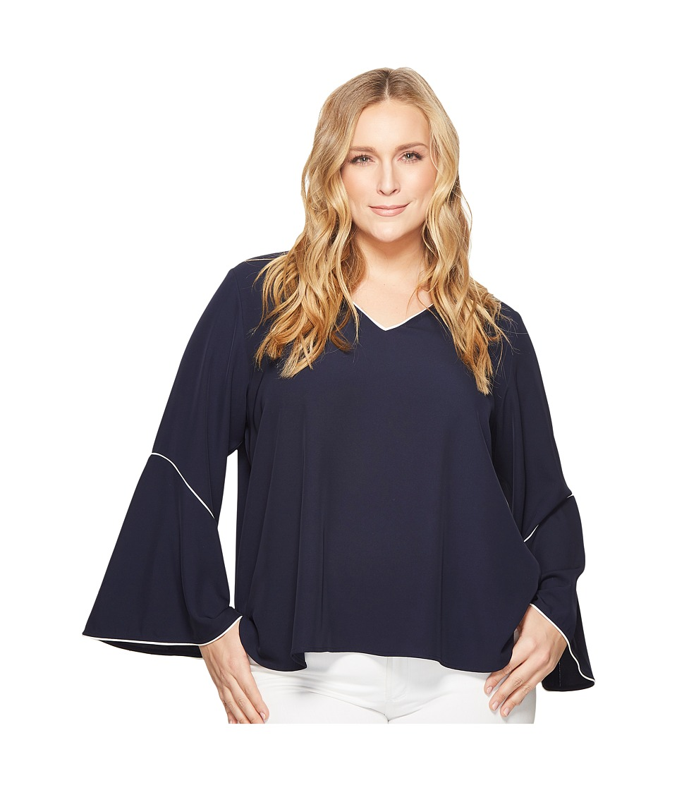 Calvin Klein Plus - Plus Size V-Neck with Flare Sleeve Blouse (Twilight) Womens Long Sleeve Pullover