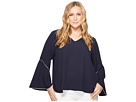 Calvin Klein Plus Plus Size V-Neck with Flare Sleeve Blouse
