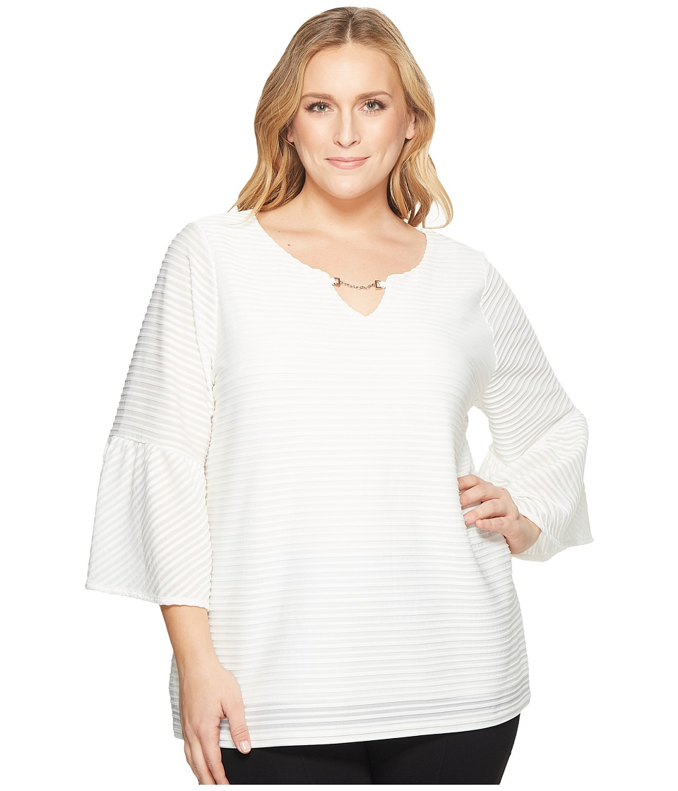 Calvin Klein Plus - Plus Size Ottoman Flutter Sleeve Top with Hardware (Soft White) Womens Long Sleeve Pullover
