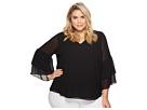 Calvin Klein Plus Plus Size V-Neck Blouse with Two Tier Sleeve