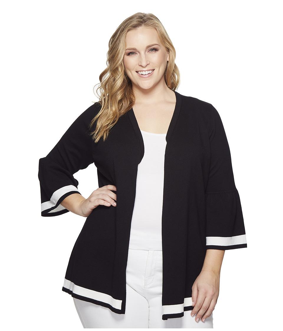 Calvin Klein Plus - Plus Size Bell Sleeve Cardigan w/ Stripe Hem (Black) Womens Long Sleeve Pullover