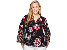 Calvin Klein Plus Plus Size Print Long Sleeve Flare Blouse with Lace
