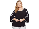 Calvin Klein Plus Plus Size Bell Sleeve Top w/ Piping