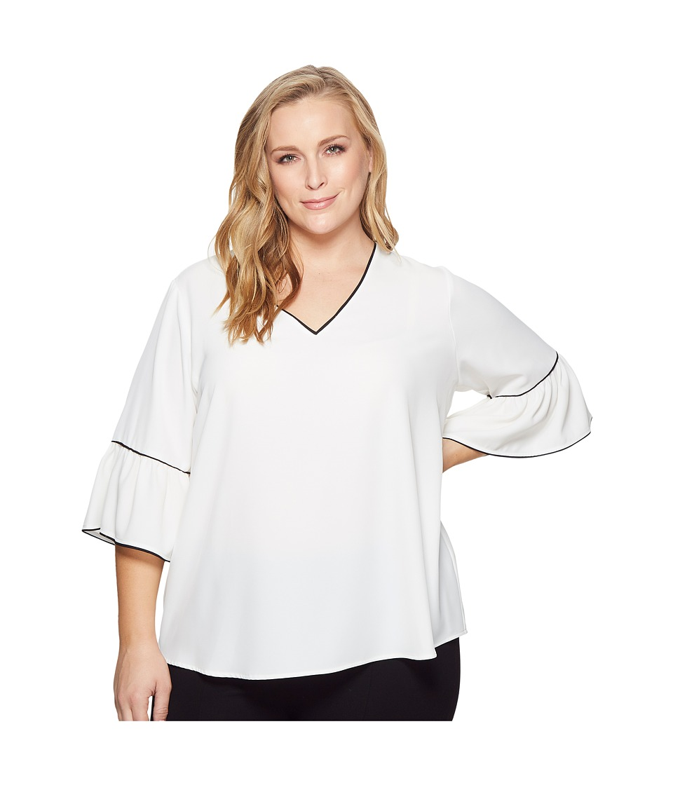Calvin Klein Plus - Plus Size V-Neck Blouse w/ Piping (Soft White) Womens Long Sleeve Pullover