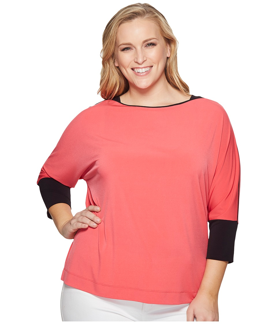 Calvin Klein Plus - Plus Size 3/4 Sleeve Dolman Top with Trim (Watermelon) Womens Short Sleeve Pullover