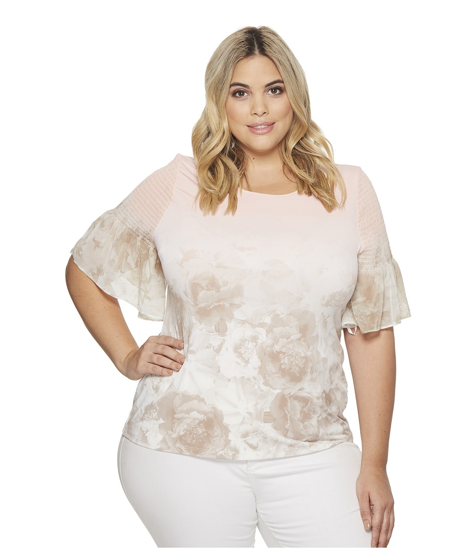 Calvin Klein Plus - Plus Size Short Sleeve Printed Top with Gather (Nectar/Latte Ombre) Womens Short Sleeve Pullover