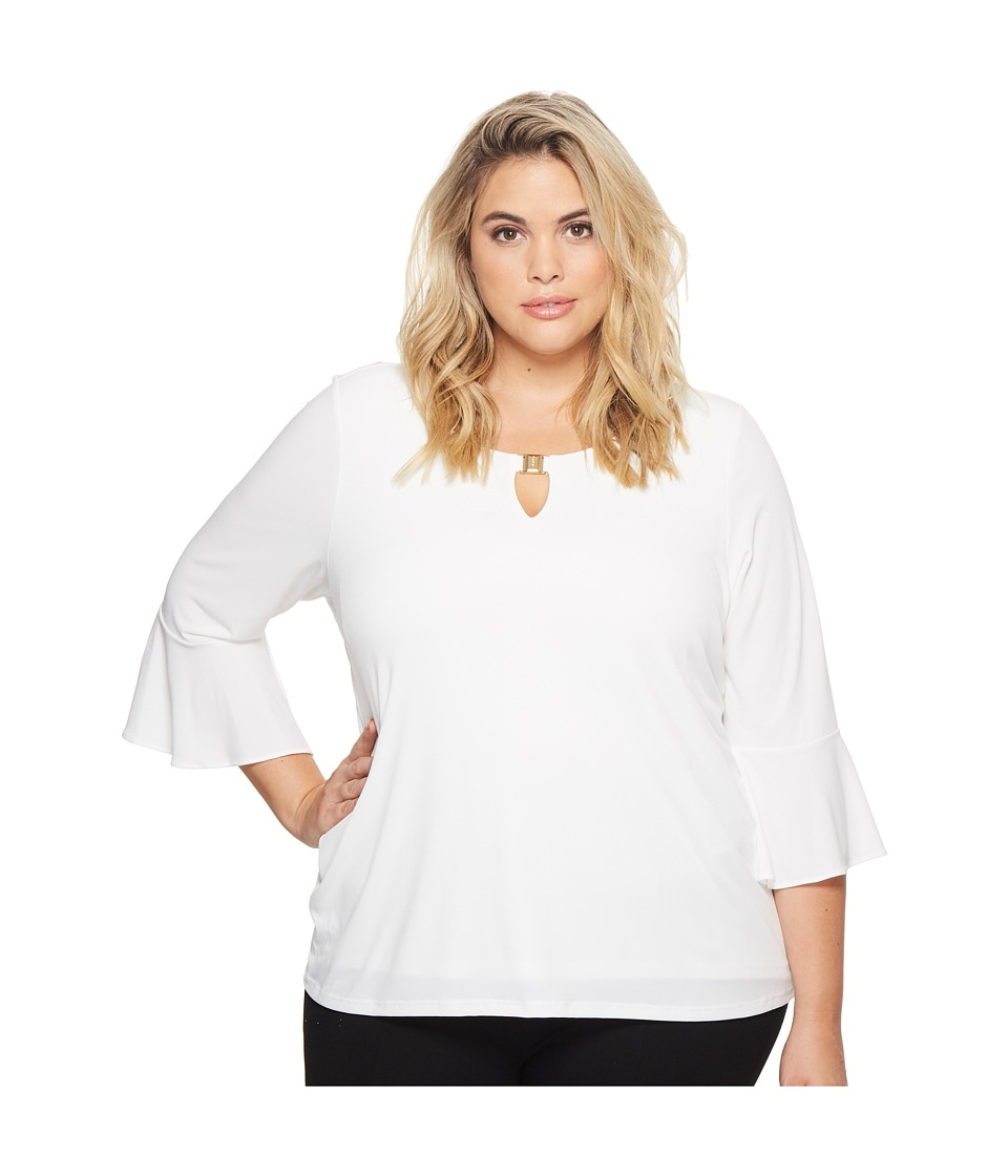 Calvin Klein Plus - Plus Size Ruffle Sleeve Top with Bar Hardware (Soft White) Womens Short Sleeve Pullover