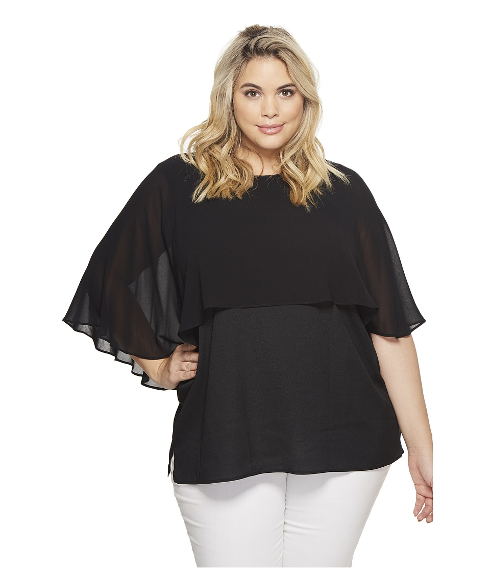 Calvin Klein Plus - Plus Size Short Sleeve Ruffle Top (Black) Womens Short Sleeve Pullover