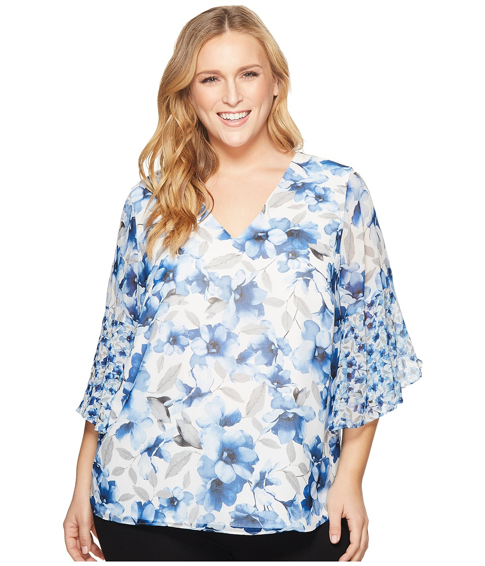 Calvin Klein Plus - Plus Size Short Sleeve V-Neck with Flare Sleeve Blouse (Regatta Blue/Ice Blue) Womens Short Sleeve Pullover