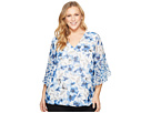 Calvin Klein Plus Plus Size Short Sleeve V-Neck with Flare Sleeve Blouse