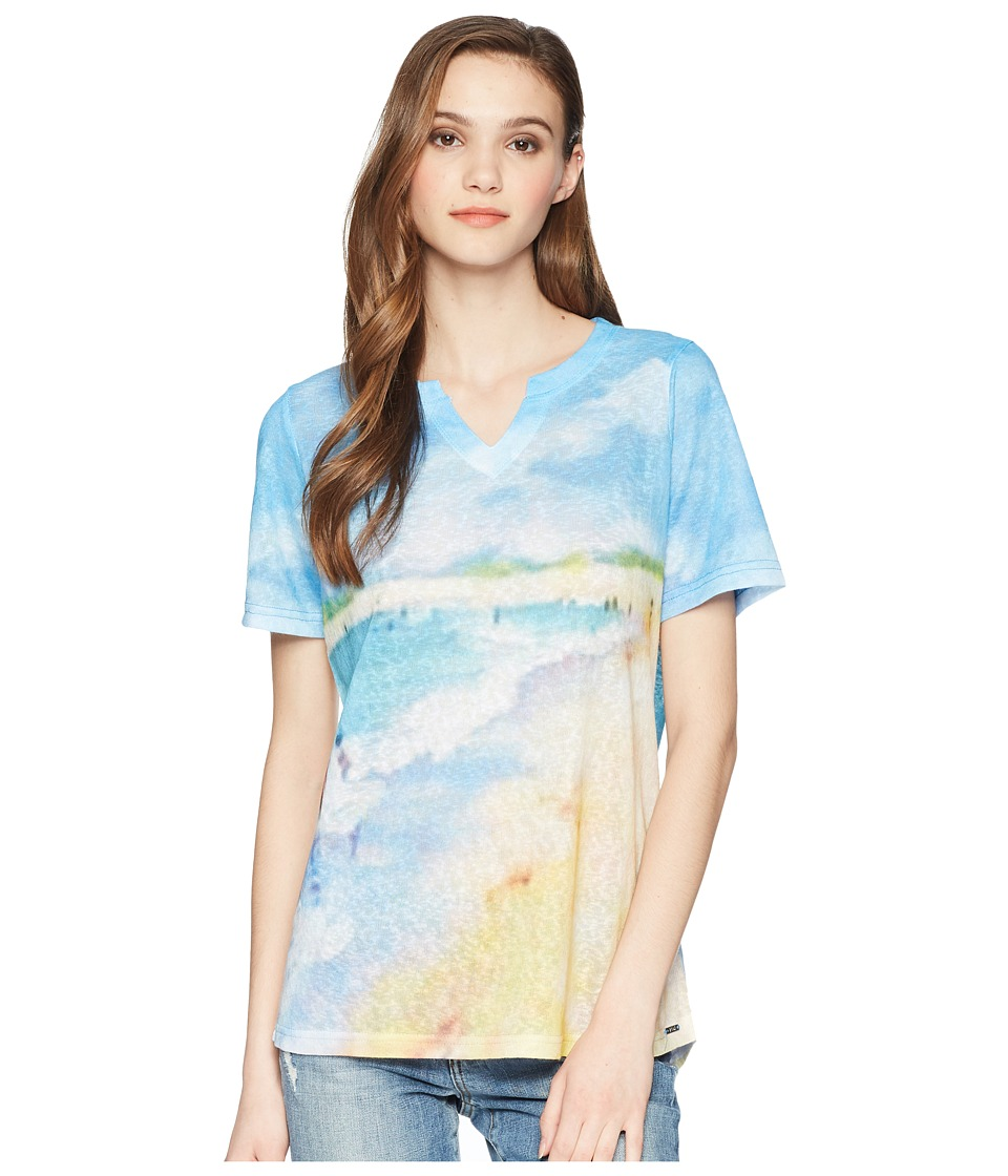 FDJ French Dressing Jeans - Sandy Beach Print Short Sleeve Notched Crew Neck Top (Multi) Womens Clothing