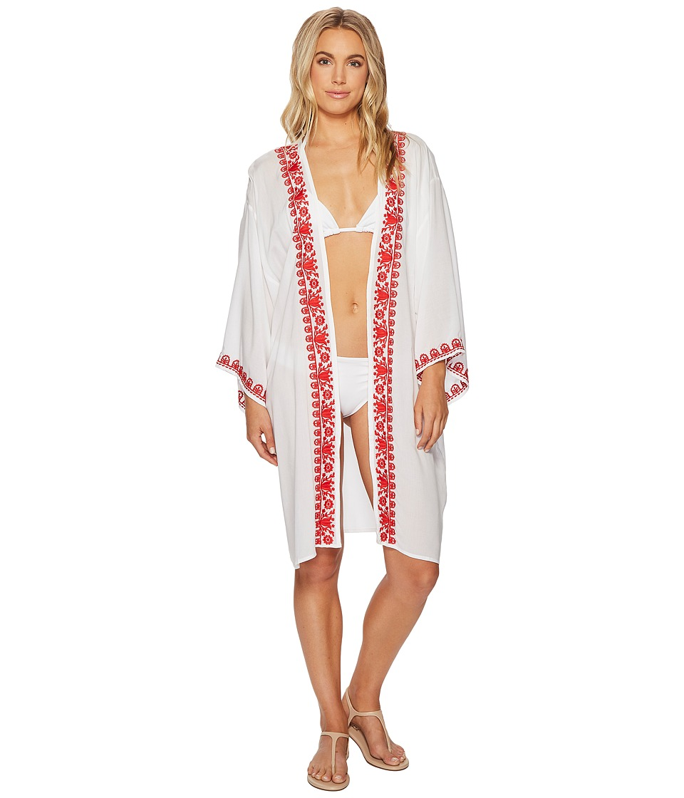 Image of Bindya - Boho Embroidery Kimono (Red 1) Women's Clothing