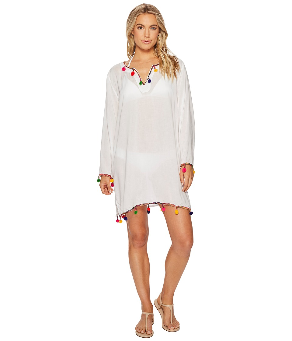 Bindya - Pom Pom New Tunic (White) Womens Blouse