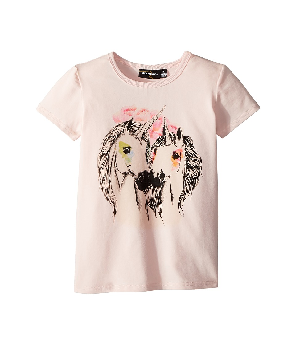 Rock Your Baby - Unicorn Love Short Sleeve Tee (Toddler/Little Kids/Big Kids) (Pink) Girls T Shirt