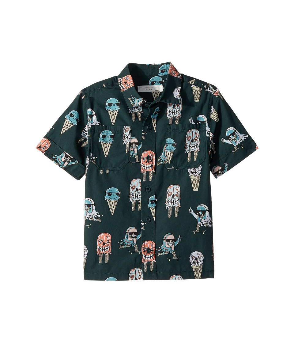 Stella McCartney Kids - Rowan Ice Cream Monster Print Button-Down Shirt (Toddler/Little Kids/Big Kids) (Green) Boy's Clothing