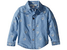 Stella McCartney Kids Melvil Embroidered Skull Chambray Shirt (Infant)