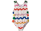 Stella McCartney Kids Lisa Squiggly Print Swimsuit w/ Bows (Infant)