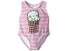 Stella McCartney Kids Stella McCartney Kids Molly Striped Ice Cream Print Swimsuit (Infant)