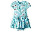 Rock Your Baby White Unicorns Short Sleeve Waisted Dress (Infant)