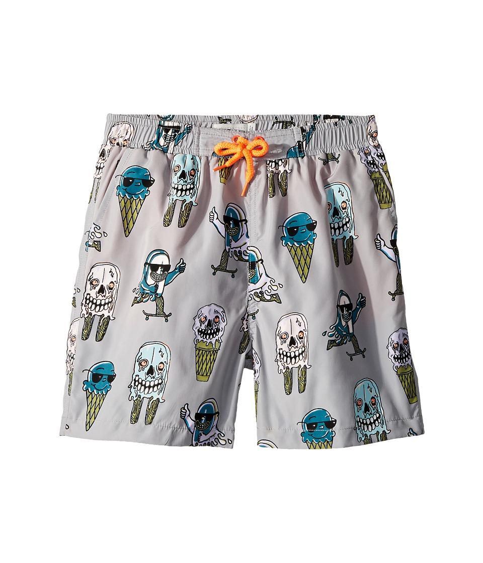 Stella McCartney Kids Taylor Ice Cream Monster Print Swim Shorts (Toddler/Little Kids/Big Kids) (Grey) Boy's Swimwear