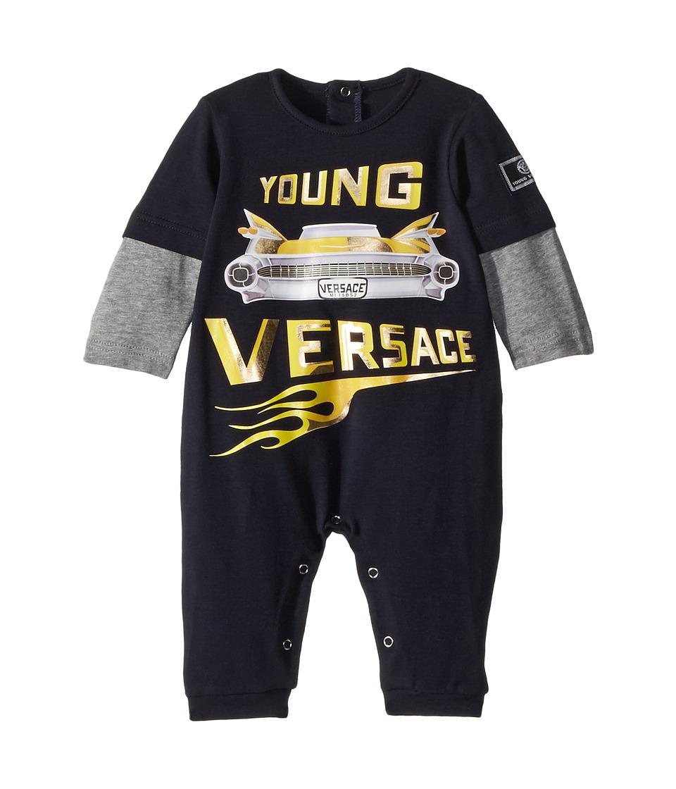 Versace Kids - Romper w/ Car Graphic (Infant) (Blue/Grey) Boys Jumpsuit & Rompers One Piece