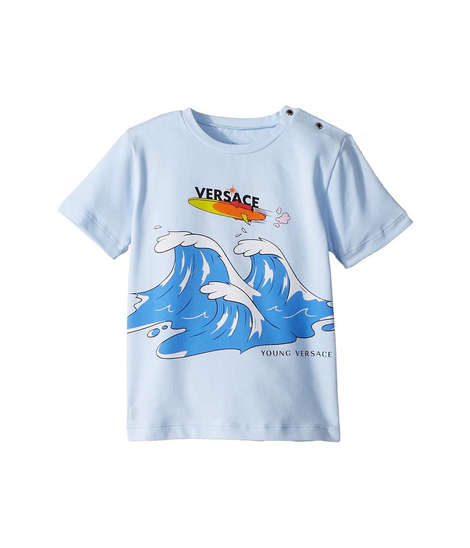 Versace Kids - Short Sleeve Wave Graphic T-Shirt (Infant/Toddler) (Light Blue) Boys T Shirt