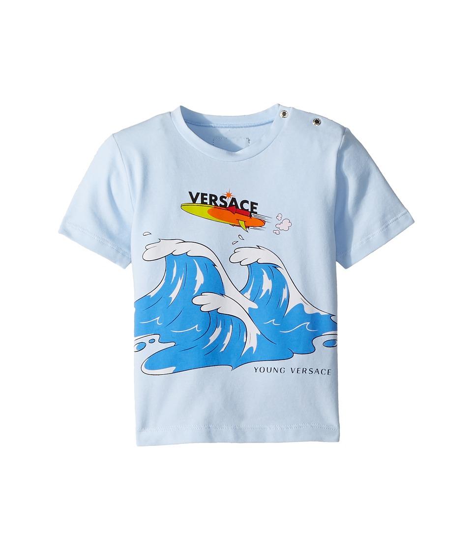 Versace Kids - Short Sleeve Wave Graphic T-Shirt (Infant) (Light Blue) Boys T Shirt