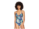 Lucky Brand Lush Leaf Cross-Back One-Piece