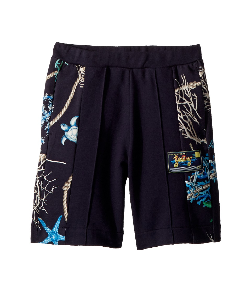 Versace Kids - Shorts w/ Sea Shore Design on Sides (Big Kids) (Navy) Boys Shorts