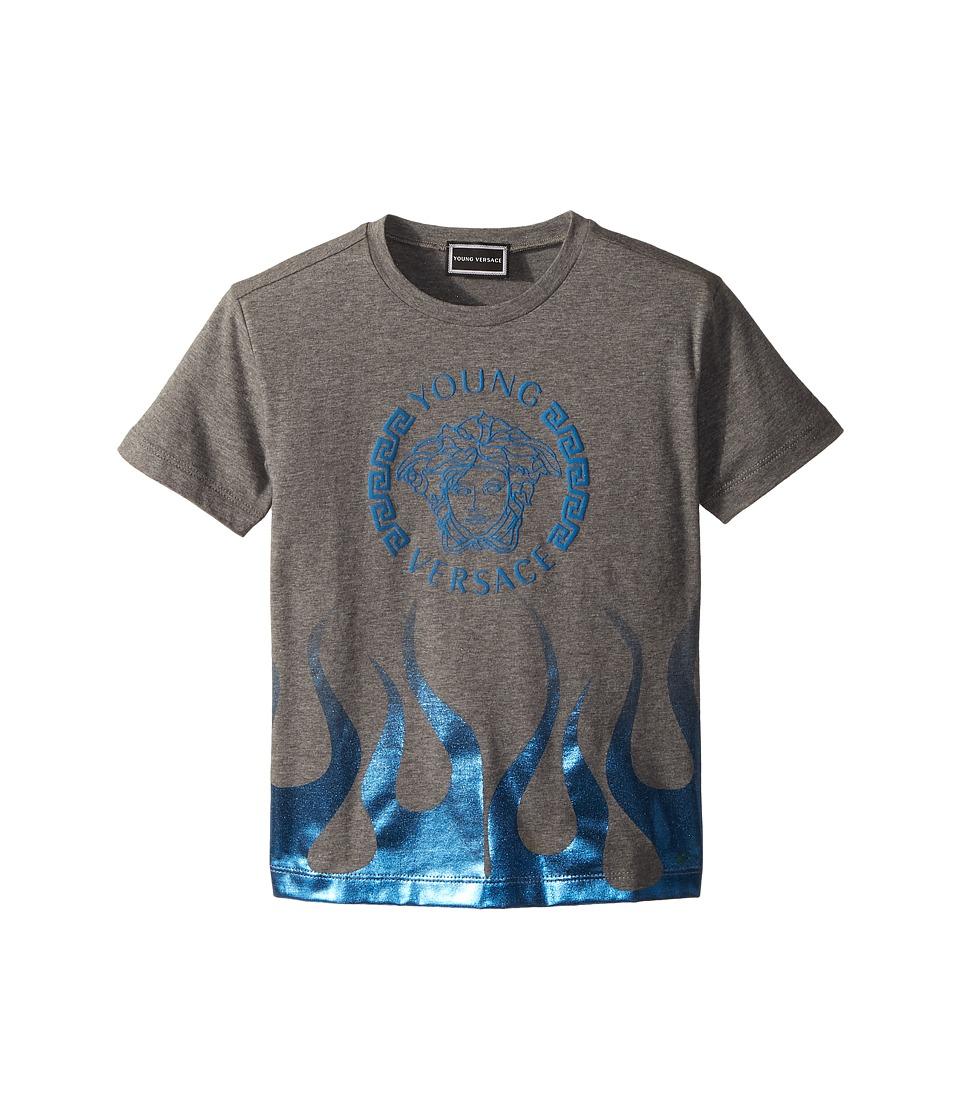 Versace Kids - Short Sleeve Medusa Logo T-Shirt w/ Flames (Toddler/Little Kids) (Grey) Boys T Shirt