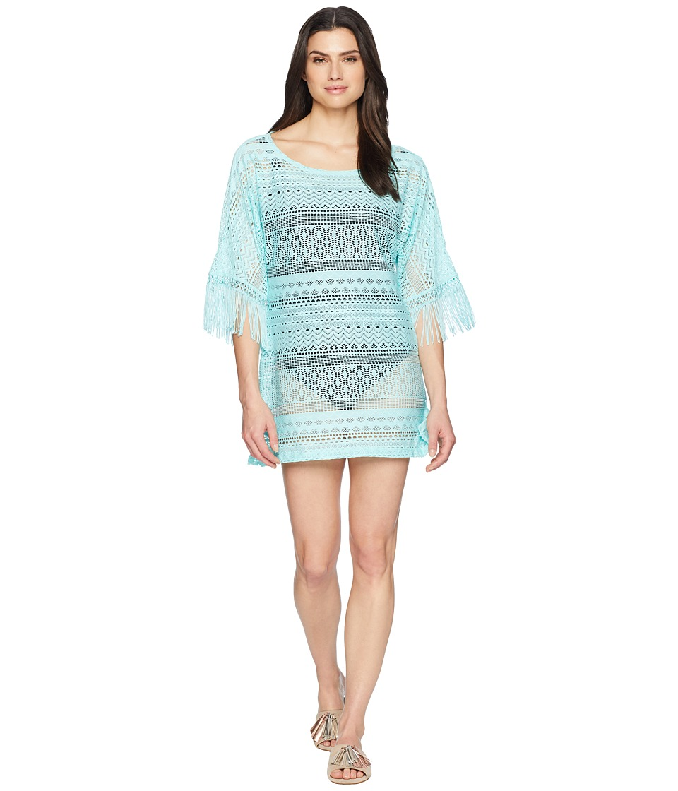 Kenneth Cole - Tough Luxe Boat Neck Tunic Cover-Up (Aqua) Womens Swimwear
