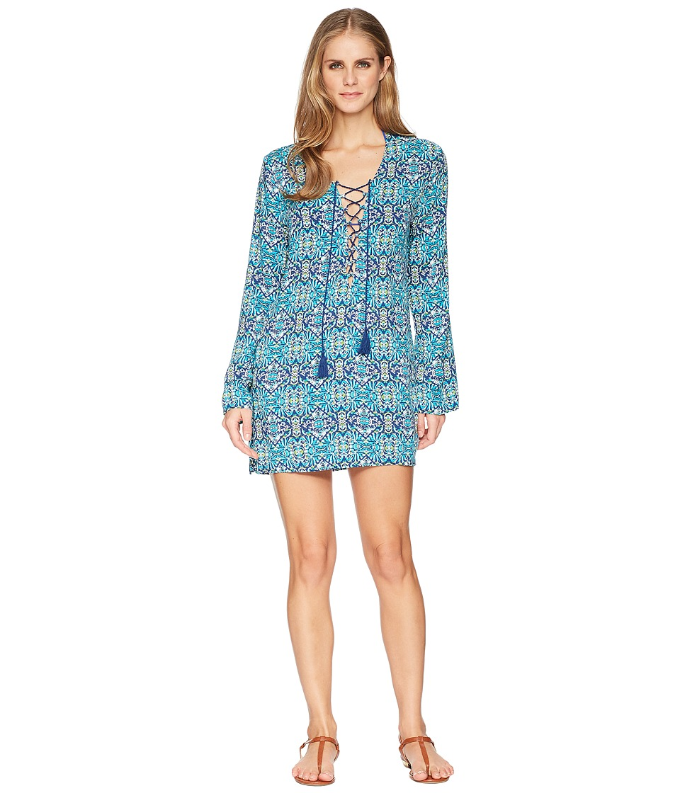 La Blanca - Tuvalu Lace-Up Front Tunic Cover-Up (Blue) Womens Swimwear