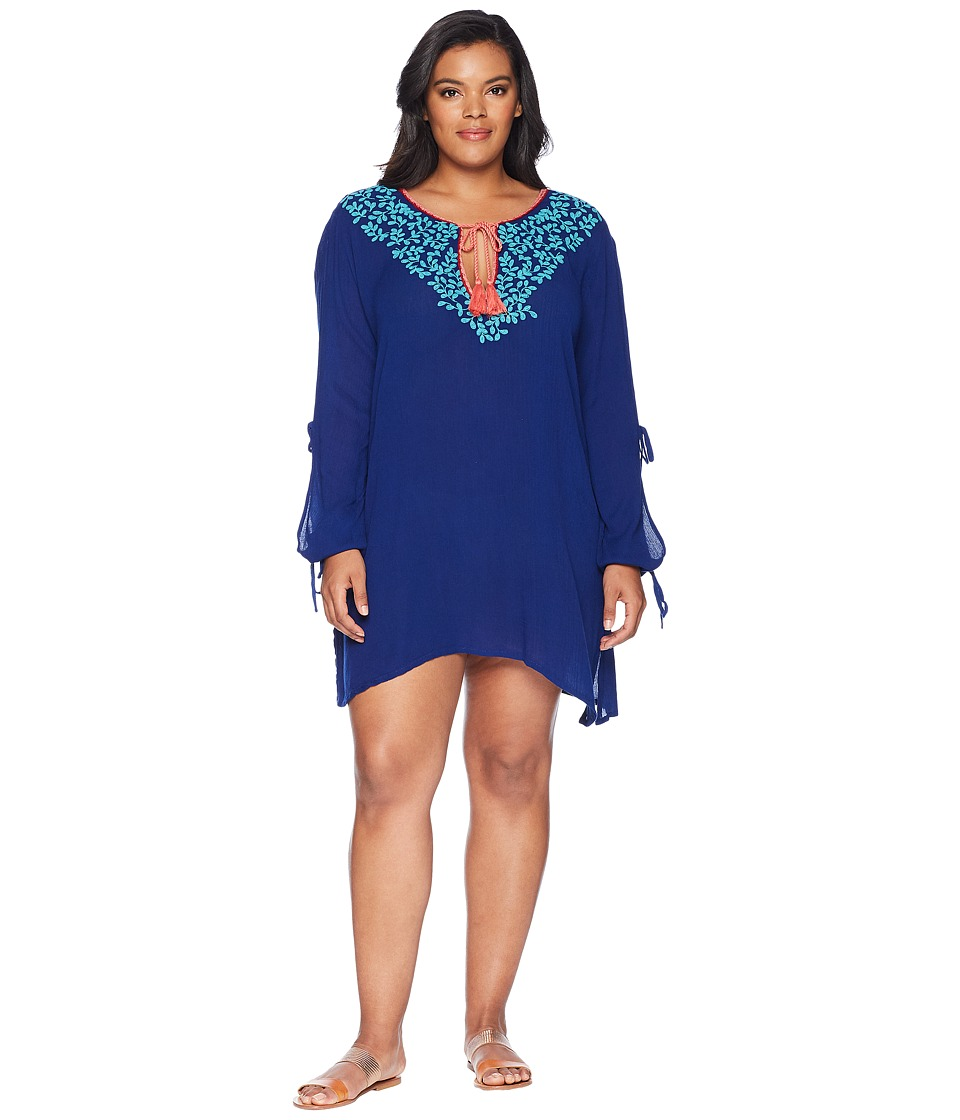 La Blanca - Plus Size Leaf It To Me Cool Shoulder Tunic Cover-Up (Midnight) Womens Swimwear