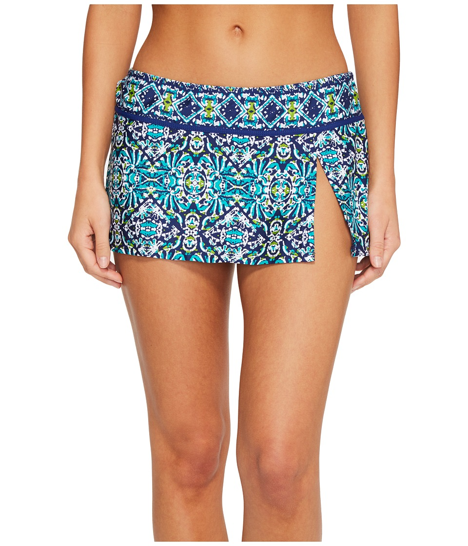 La Blanca - Tuvalu Skirted Hipster Bikini Bottom (Blue) Womens Swimwear