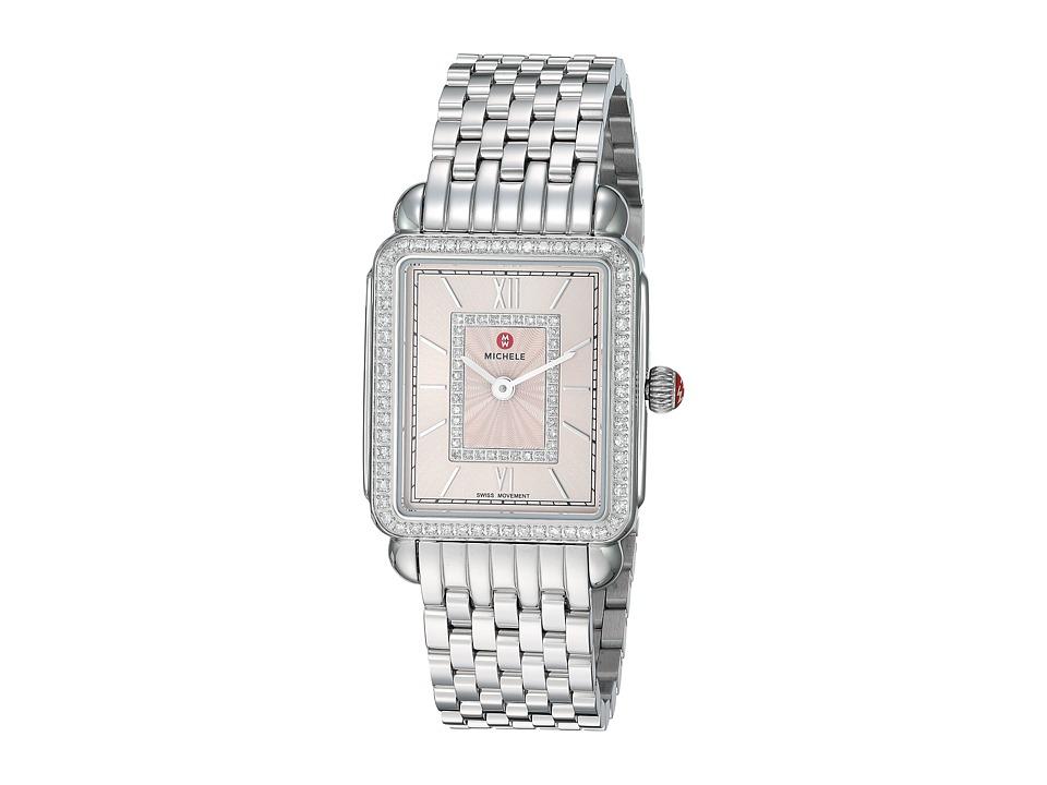 Michele Watches Deco II Mid Blush Diamond Dial Watch (Sil...